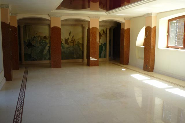 Facing Of A Floor And Columns Marble Crema Marfil Rosso Verona Spain