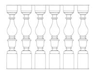 Drawing No. 1 of chiseled baluster made of natural granite