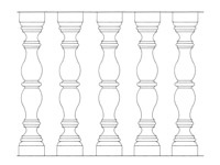 Drawing No. 3 of chiseled baluster made of natural stone