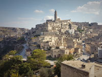 View of the Cathedral of Matera. Built in 1270. The height of the bell tower 52 meters