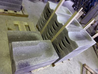 Ready-made granite water bowls in production